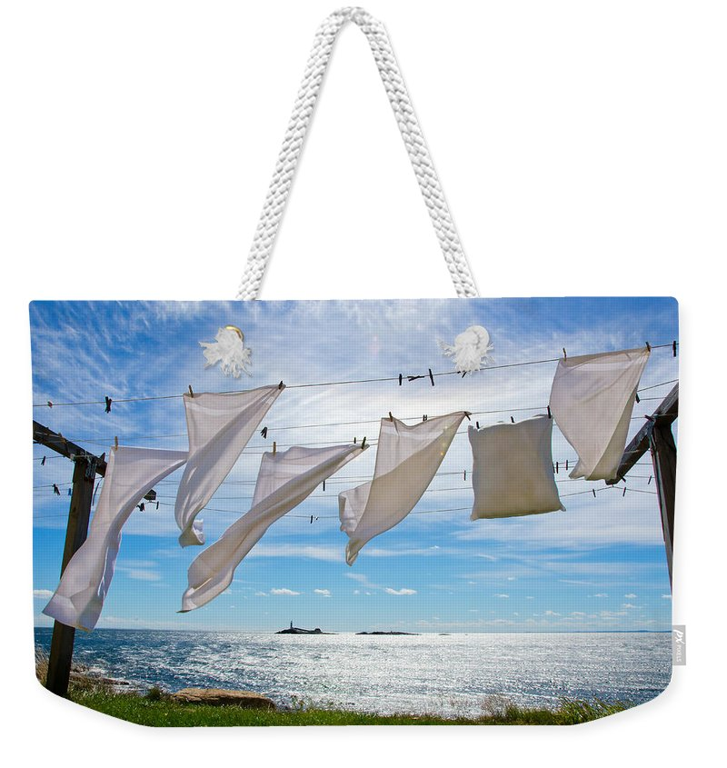Star Island Weekender Tote Bag featuring the photograph Star Island Clothesline by Donna Doherty