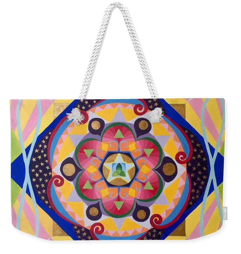 Mandala Weekender Tote Bag featuring the painting Star Mandala by Anne Cameron Cutri