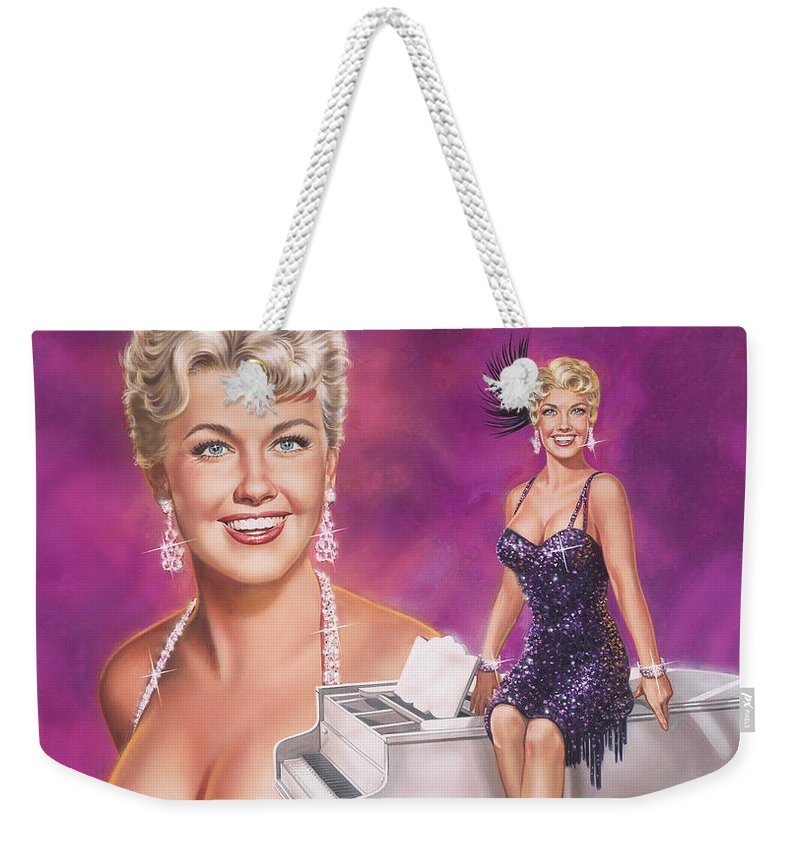 Doris Day Weekender Tote Bag featuring the painting Star Of Stars - Doris Day by Dick Bobnick
