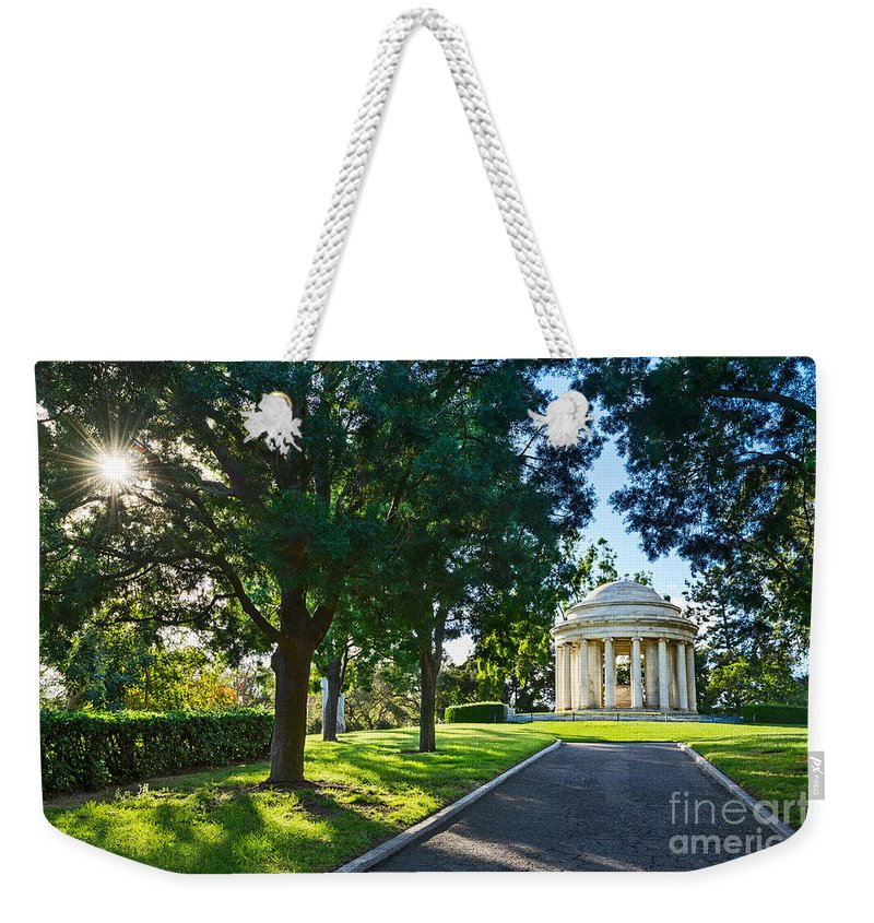 Mausoleum Weekender Tote Bag featuring the photograph Star Over The Mausoleum - Henry And Arabella Huntington Overlooks The Gardens. by Jamie Pham