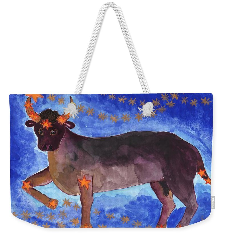 Zodiac Weekender Tote Bag featuring the painting Star Sign Taurus by Sushila Burgess