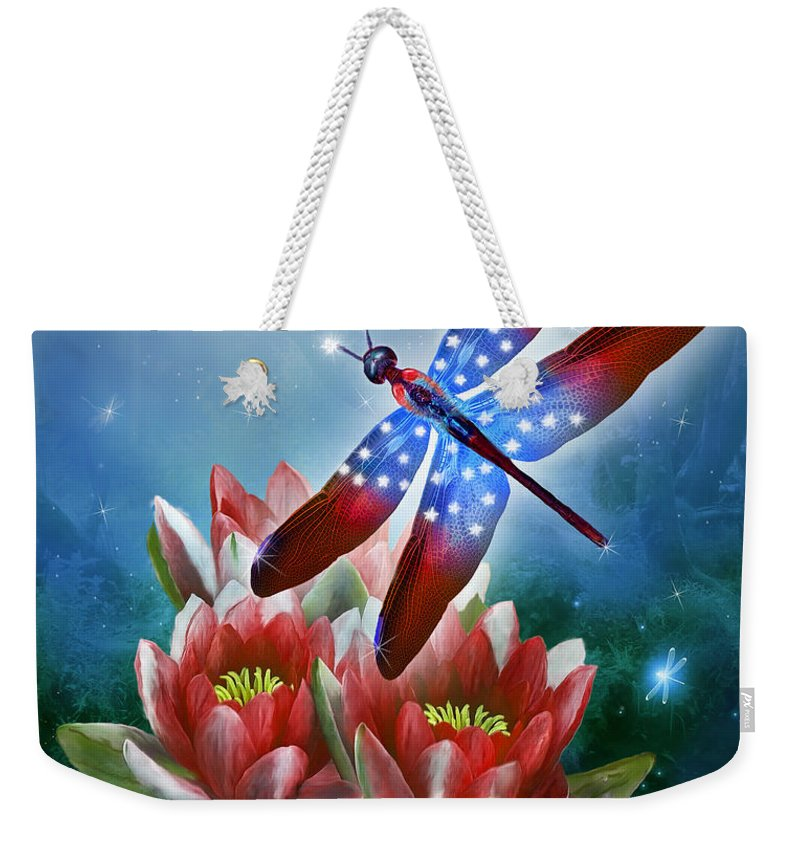 Carol Cavalaris Weekender Tote Bag featuring the mixed media Star Spangled Dragonfly by Carol Cavalaris