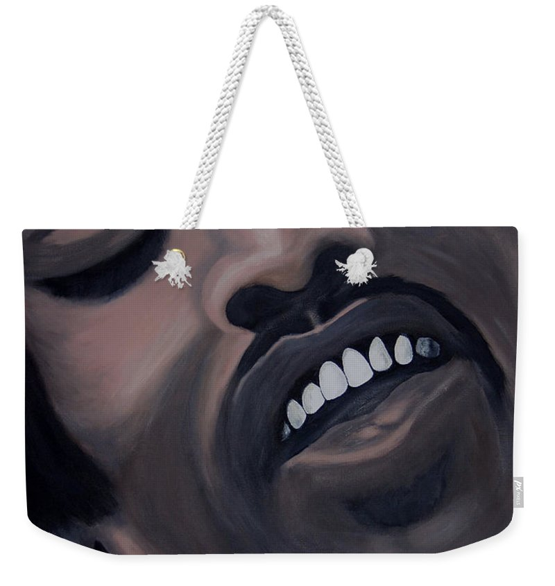 Guitar Legend Weekender Tote Bag featuring the painting Star Spangled Jimi by Dean Stephens