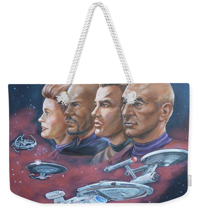 Star Trek Weekender Tote Bag featuring the painting Star Trek Tribute Captains by Bryan Bustard