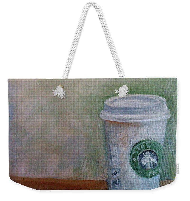 Starbucks Coffee Weekender Tote Bag featuring the painting Starbucks Coffee by Mohita Bhatnagar
