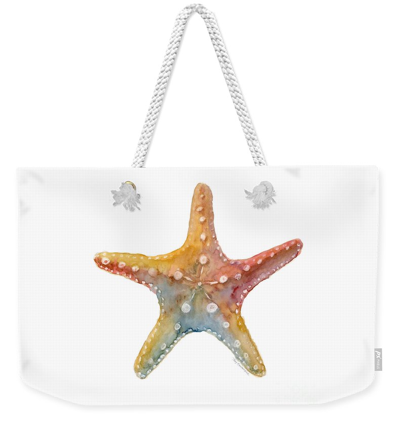 Shell Weekender Tote Bag featuring the painting Starfish by Amy Kirkpatrick