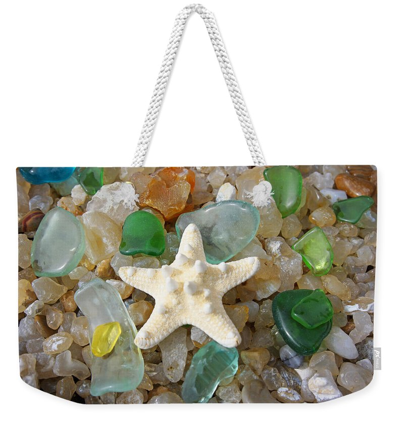 Decorative Weekender Tote Bag featuring the photograph Starfish Fine Art Photography Seaglass Coastal Beach by Patti Baslee