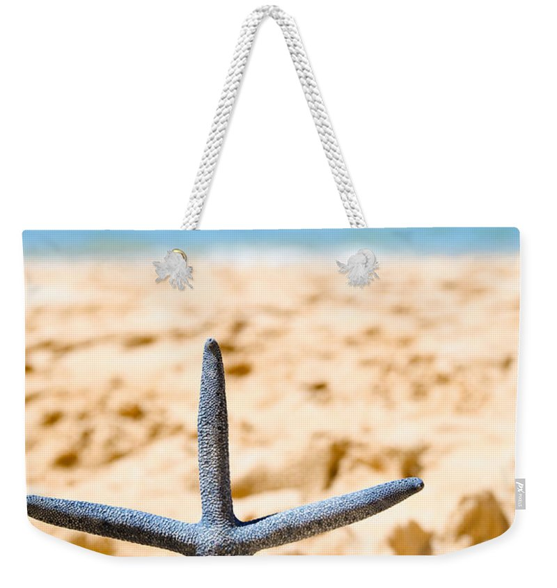 Starfish Weekender Tote Bag featuring the photograph Starfish On Algarve Beach Portugal by Amanda Elwell