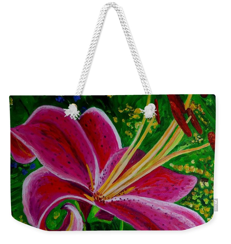 Lily Weekender Tote Bag featuring the painting Stargazer Lily by Julie Brugh Riffey