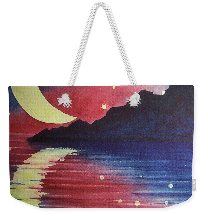 Star Weekender Tote Bag featuring the painting Starry Lake by Conni Reinecke