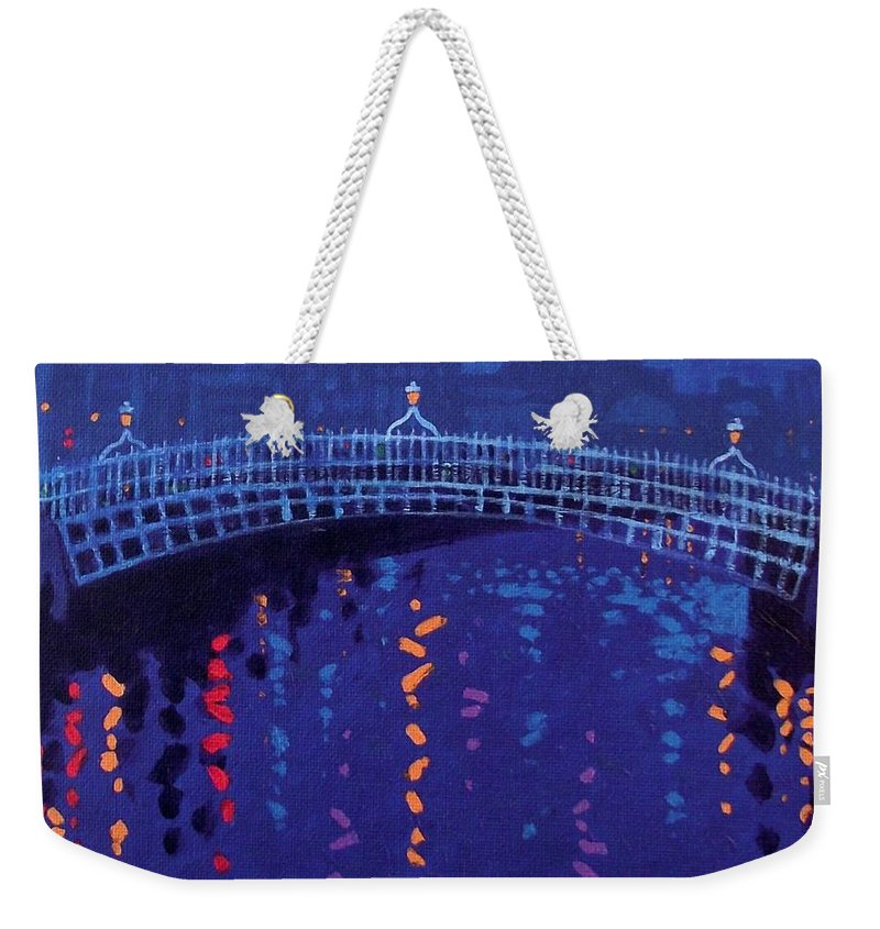 Acrylic Weekender Tote Bag featuring the painting Starry Night In Dublin by John Nolan