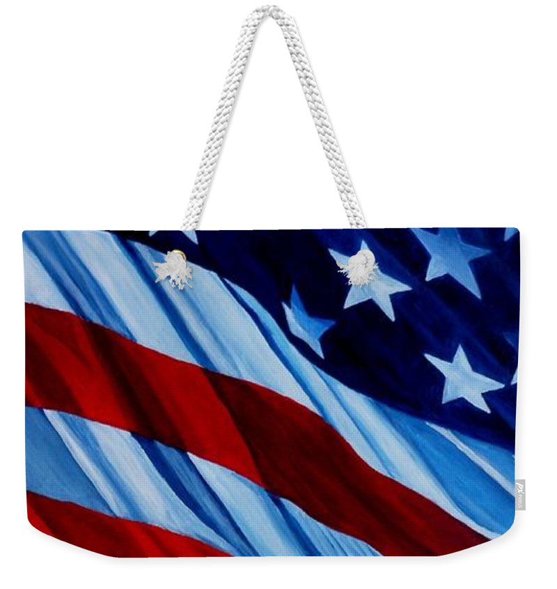 Flag Weekender Tote Bag featuring the painting Stars And Bars - U S Flag by Julie Brugh Riffey