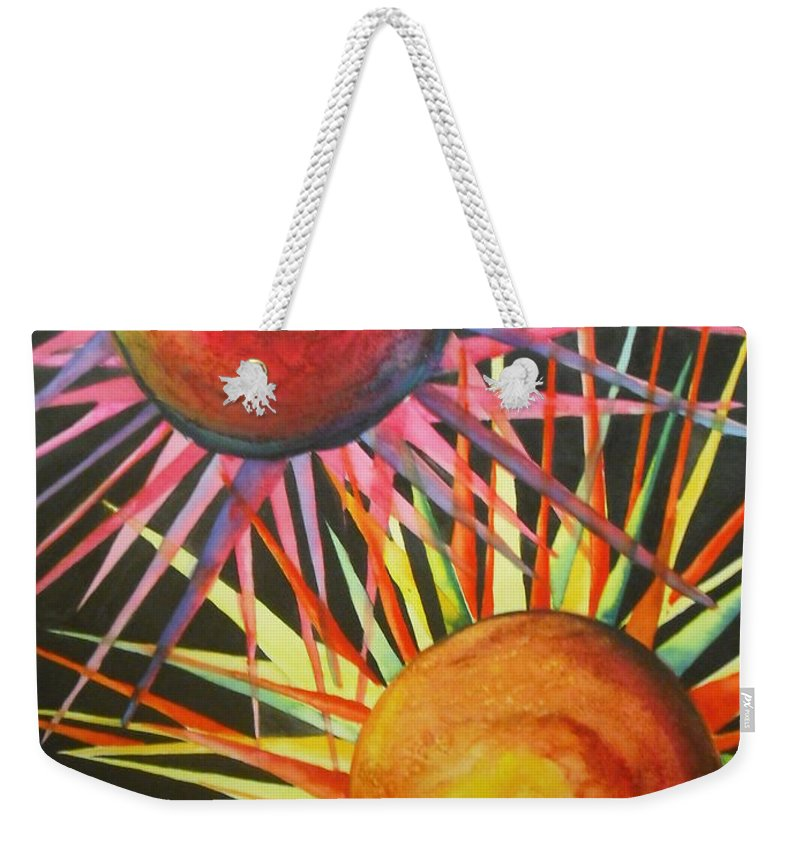 Fine Art Painting Weekender Tote Bag featuring the painting Stars With Colors by Chrisann Ellis
