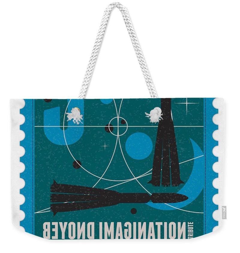 Minimal Weekender Tote Bag featuring the digital art Starschips 03-poststamp - Vostok by Chungkong Art