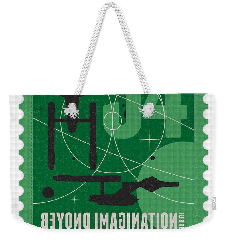Enterprise Weekender Tote Bag featuring the digital art Starschips 34-poststamp - Uss Enterprise by Chungkong Art