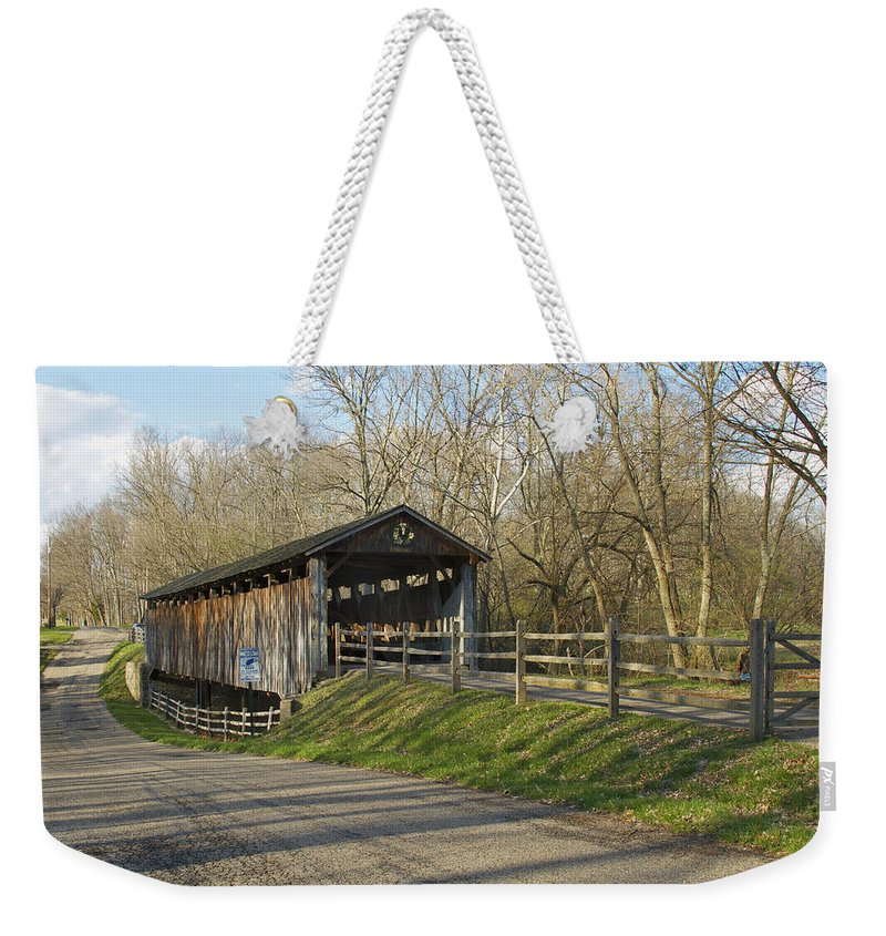 Ohio Weekender Tote Bag featuring the photograph State Line Or Bebb Park Covered Bridge by Jack R Perry