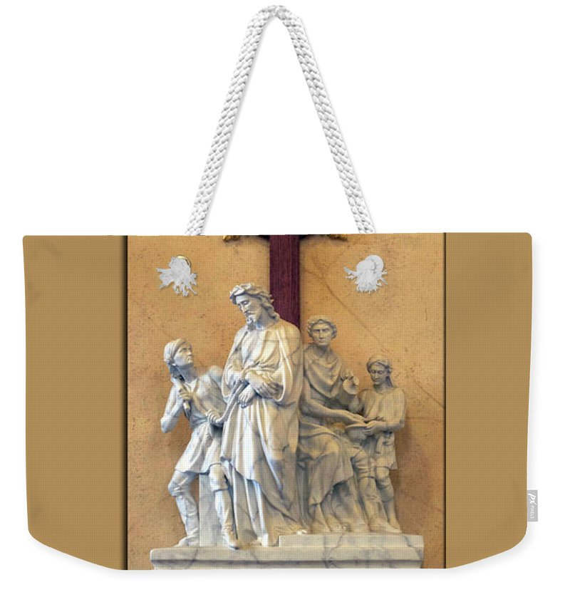 Statue Weekender Tote Bag featuring the photograph Station Of The Cross 01 by Thomas Woolworth