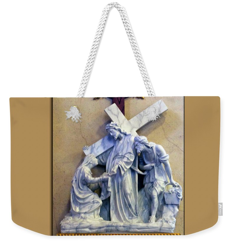 Statue Weekender Tote Bag featuring the photograph Station Of The Cross 06 by Thomas Woolworth