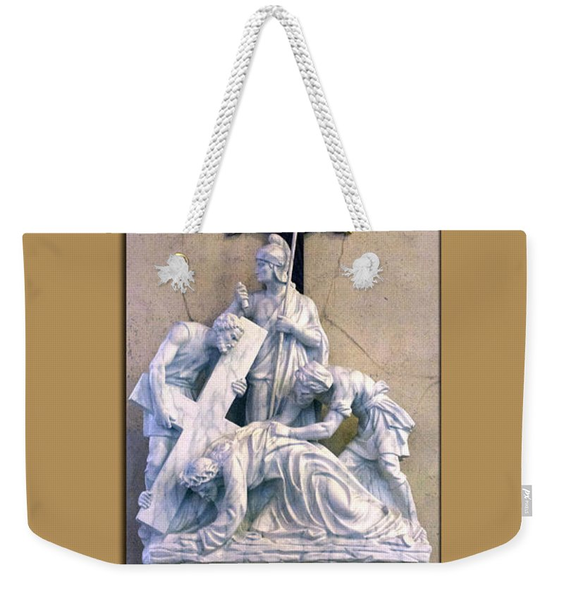 Statue Weekender Tote Bag featuring the photograph Station Of The Cross 07 by Thomas Woolworth