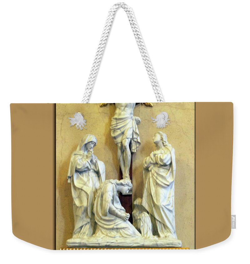 Statue Weekender Tote Bag featuring the photograph Station Of The Cross 12 by Thomas Woolworth