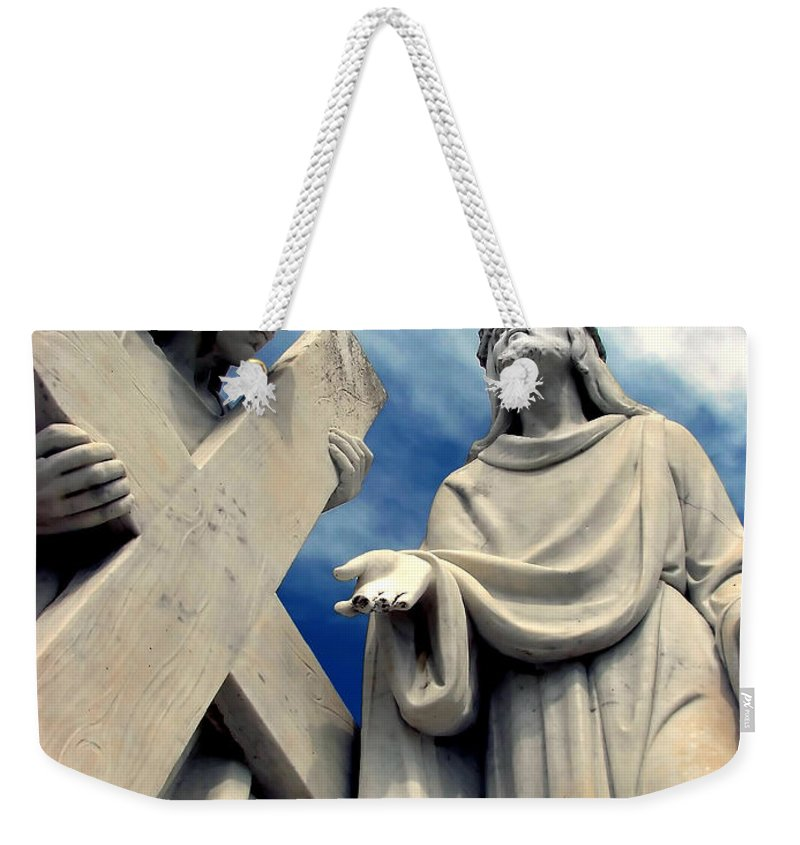 Belief Weekender Tote Bag featuring the photograph Station Of The Cross by Dan Radi