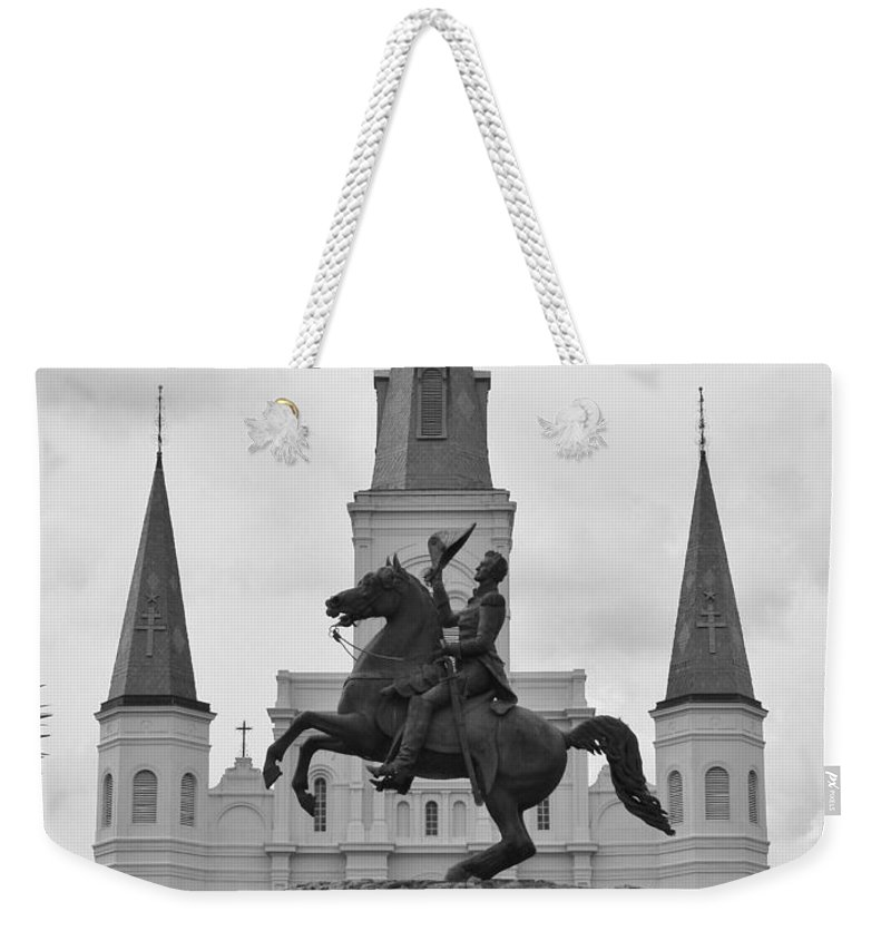 Contemporary Weekender Tote Bag featuring the photograph Statue Of Andrew Jackson In Black And White by Margaret Bobb