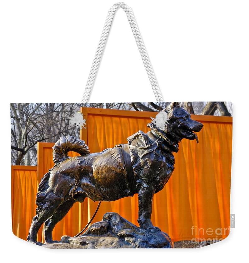 New York City Weekender Tote Bag featuring the photograph Statue Of Balto In Nyc Central Park by Anthony Sacco