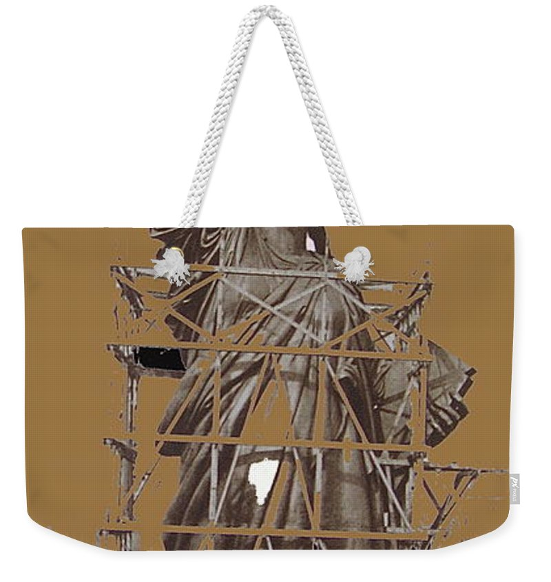 Statue Of Liberty Being Built 1876-1881 Paris France Collage              Pierre Petit Photographer Color Added Weekender Tote Bag featuring the photograph Statue Of Liberty Being Built 1876-1881 Paris Collage Pierre Petit           by David Lee Guss