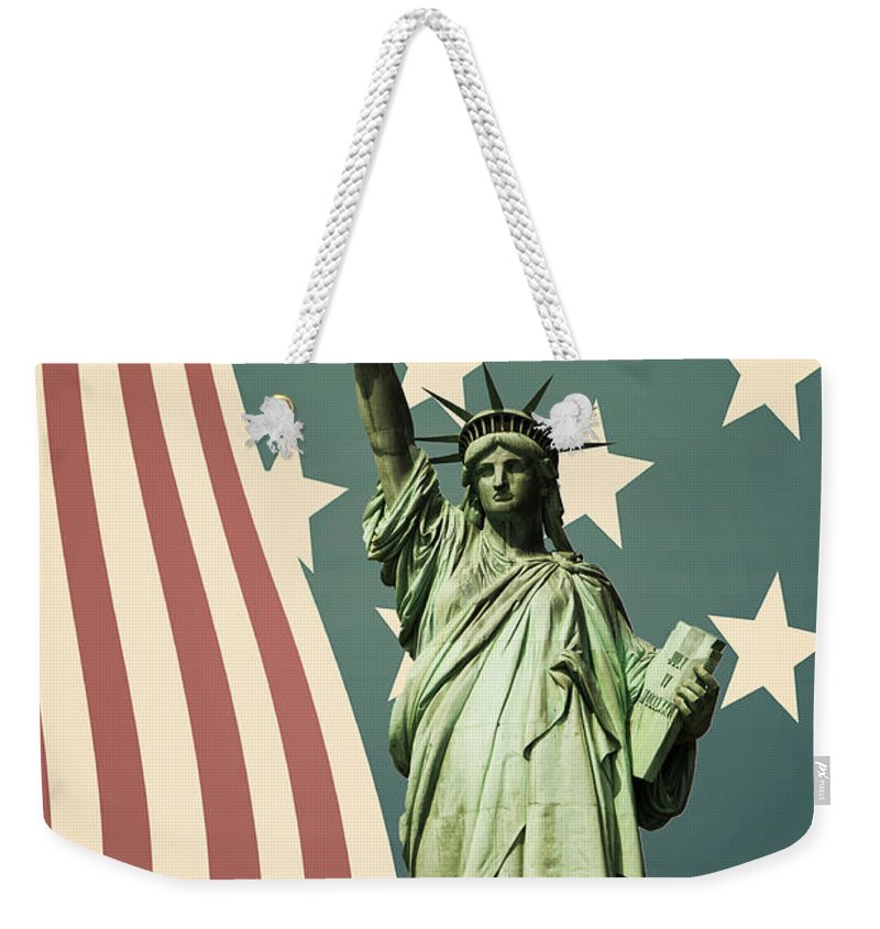 America Weekender Tote Bag featuring the photograph Statue Of Liberty by Juli Scalzi