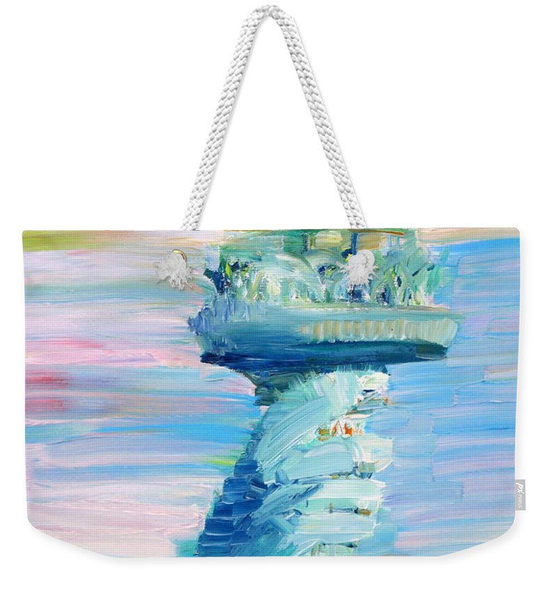 Statue Weekender Tote Bag featuring the painting Statue Of Liberty - The Torch by Fabrizio Cassetta