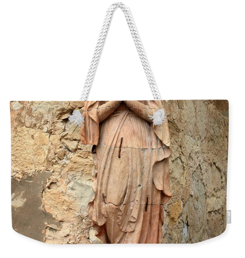 Mother Mary Weekender Tote Bag featuring the photograph Statue Of Mary In Mission Garden by Carol Groenen