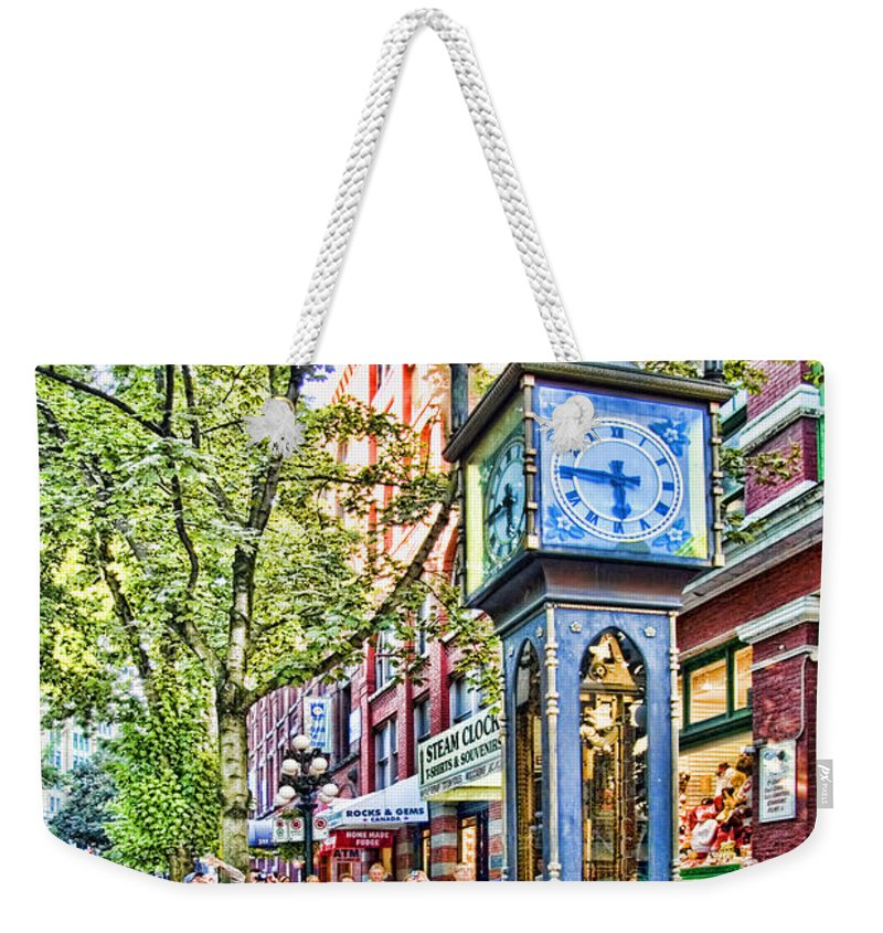 Steam Weekender Tote Bag featuring the photograph Steam Clock In Vancouver Gastown by David Smith