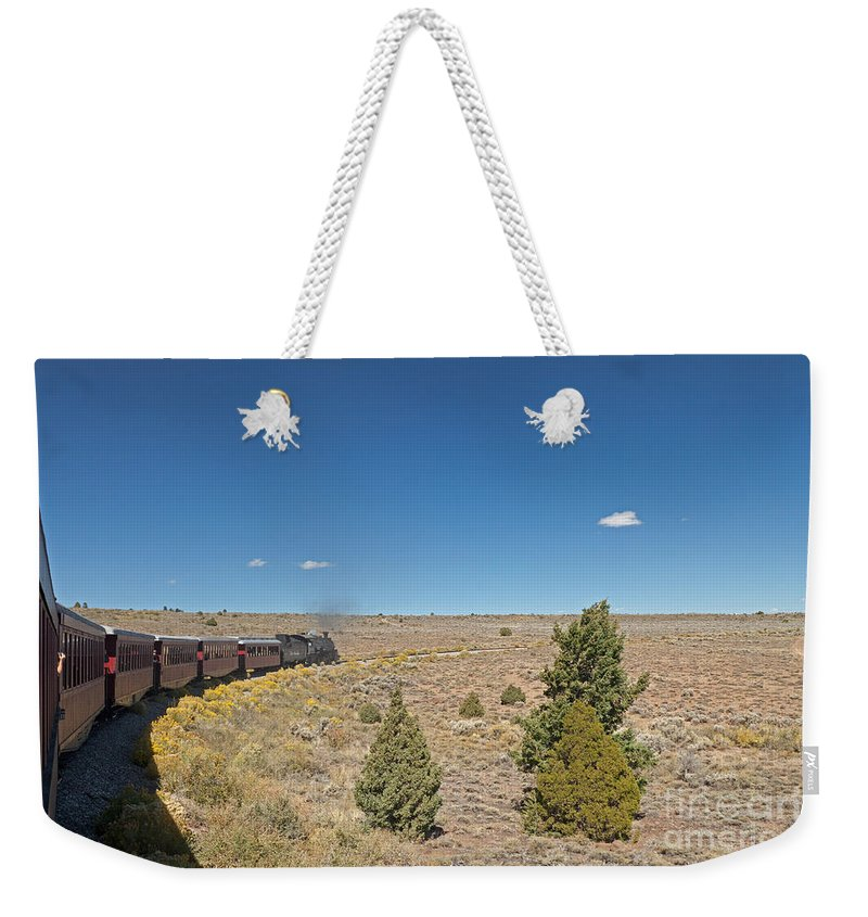 Antonito Weekender Tote Bag featuring the photograph Steam Engine 489 At The Lava Tank On The Cumbres And Toltec Scenic Railroad by Fred Stearns