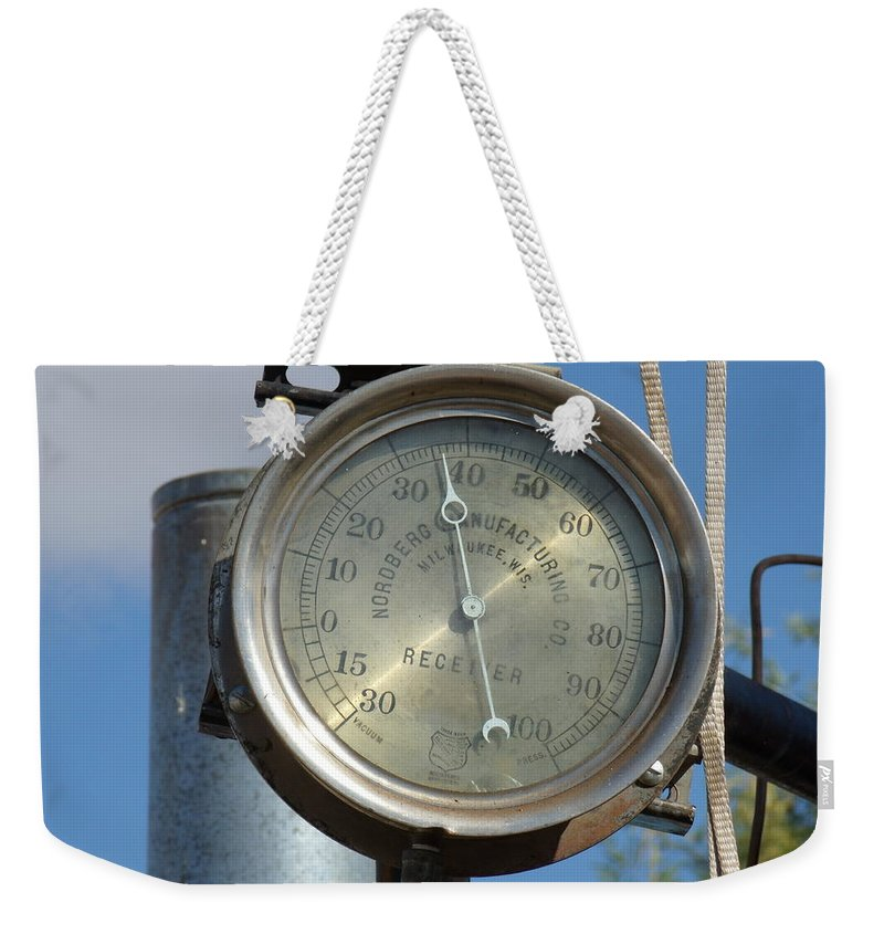David S Reynolds Weekender Tote Bag featuring the photograph Steam Gauge by David S Reynolds
