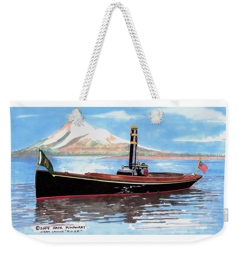 Steam Powered Vessels Weekender Tote Bag featuring the painting Steam Launch Rose by Jack Pumphrey