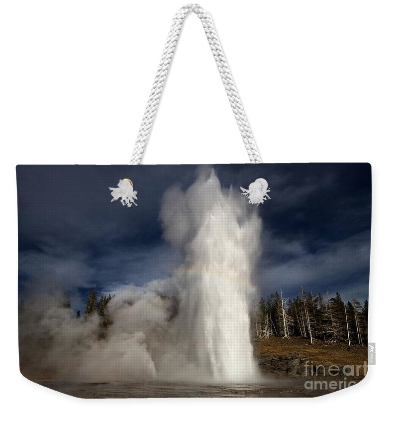 Grand Geyser Weekender Tote Bag featuring the photograph Steam Tower by Adam Jewell