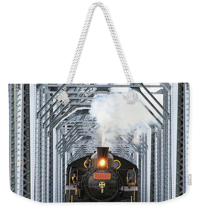 Air Pollution Weekender Tote Bag featuring the photograph Steam Train by Peter Hong