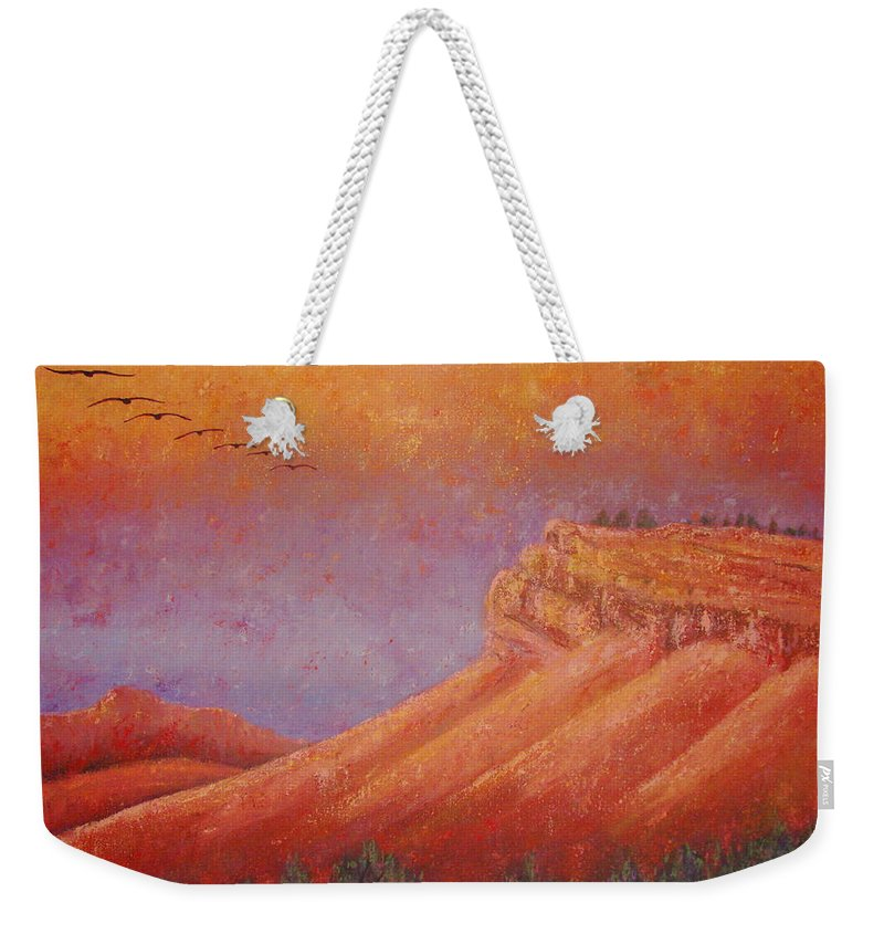 Steamboat Mountain Weekender Tote Bag featuring the painting Steamboat Mountain at Sunrise by Margaret Bobb