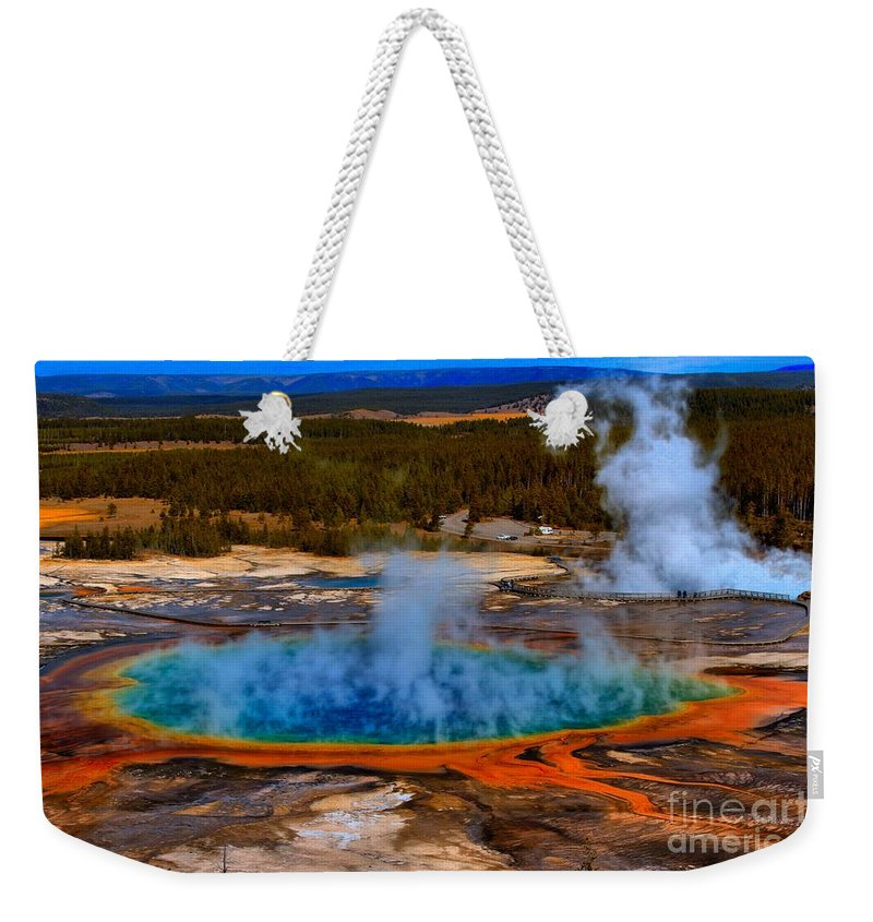 Grand Prismatic Spring Weekender Tote Bag featuring the photograph Steaming Rainbow by Adam Jewell