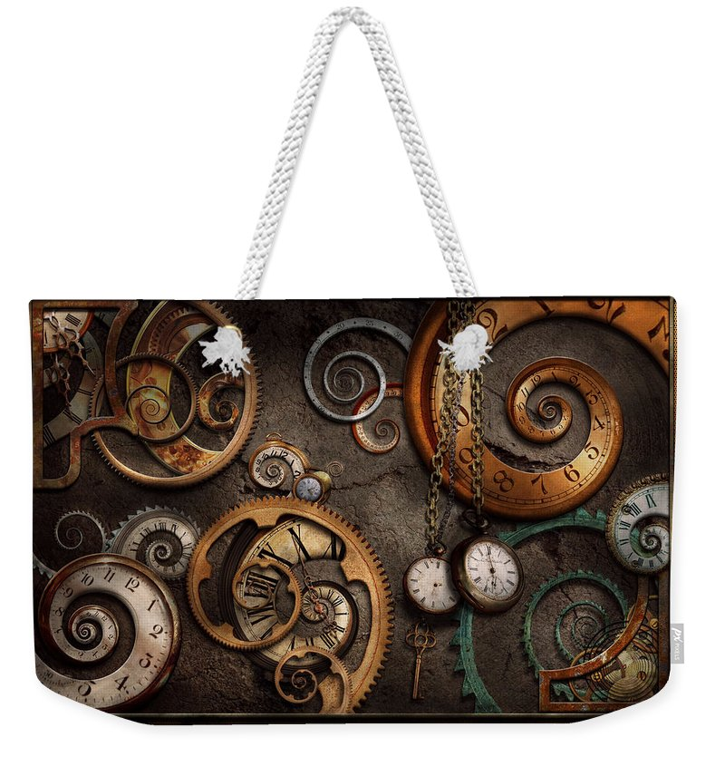 Steampunk Weekender Tote Bag featuring the photograph Steampunk - Abstract - Time is complicated by Mike Savad