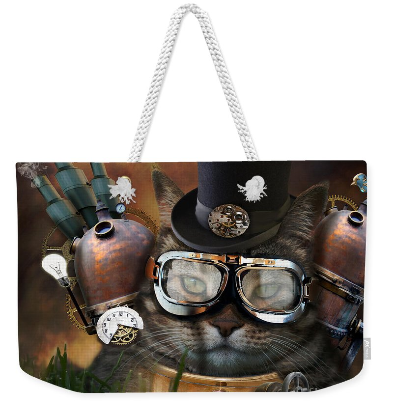 Cat Weekender Tote Bag featuring the photograph Steampunk Cat by Juli Scalzi