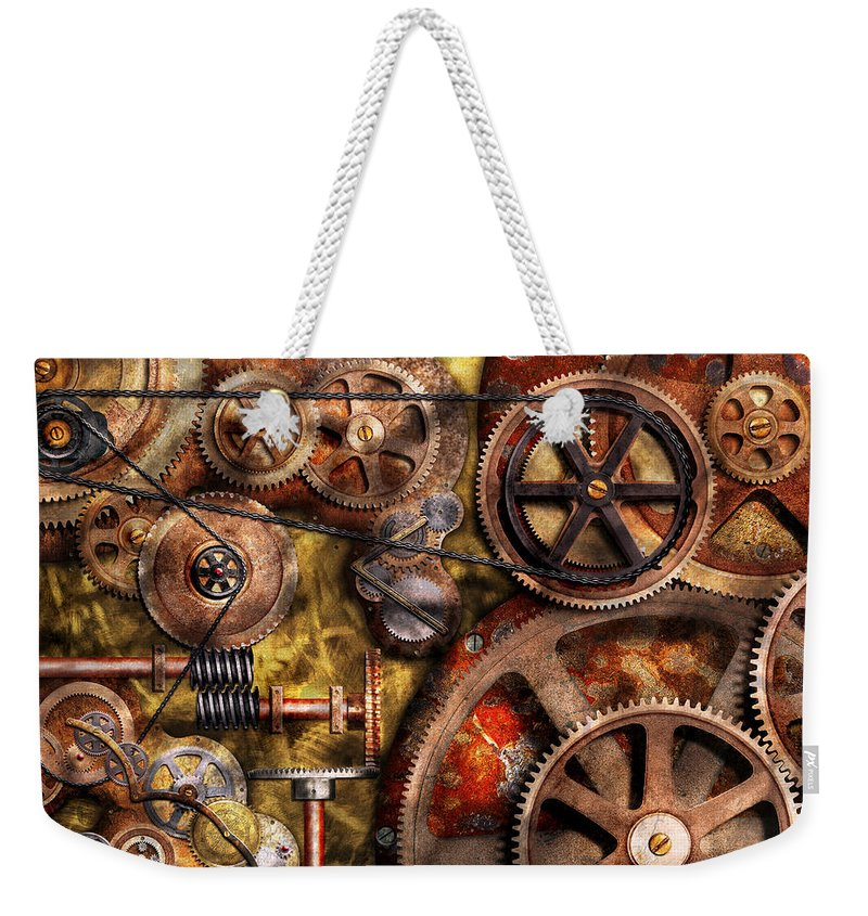 Steampunk Weekender Tote Bag featuring the photograph Steampunk - Gears - Inner Workings by Mike Savad