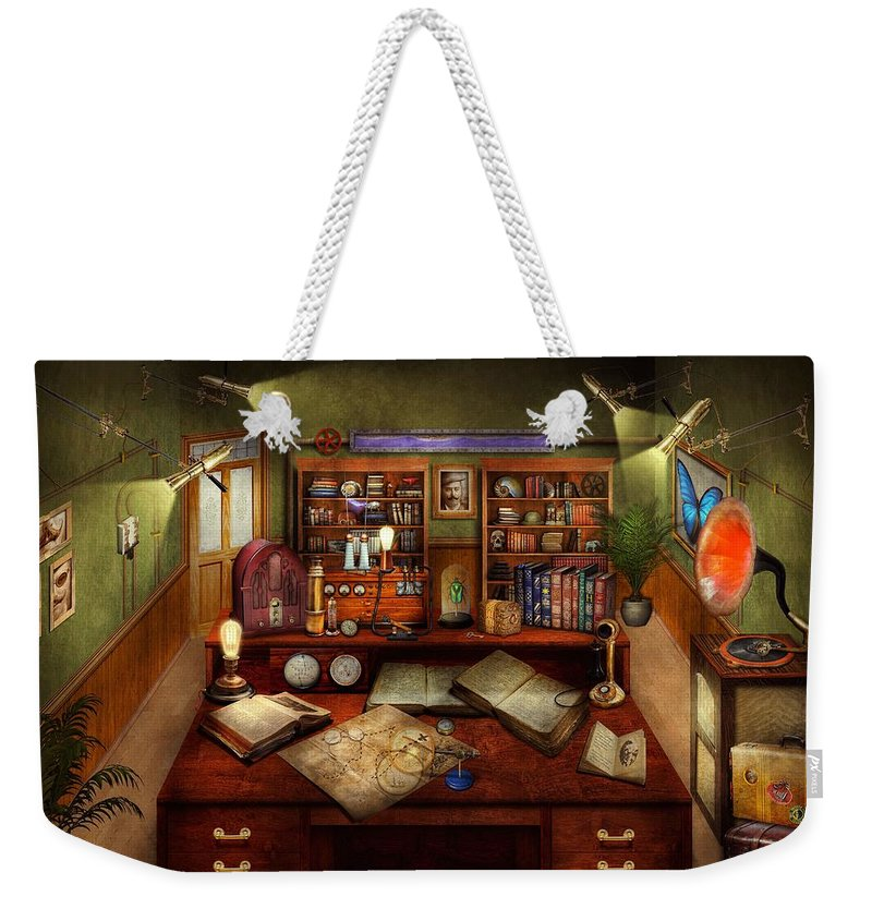 Self Weekender Tote Bag featuring the photograph Steampunk - My Busy Study by Mike Savad