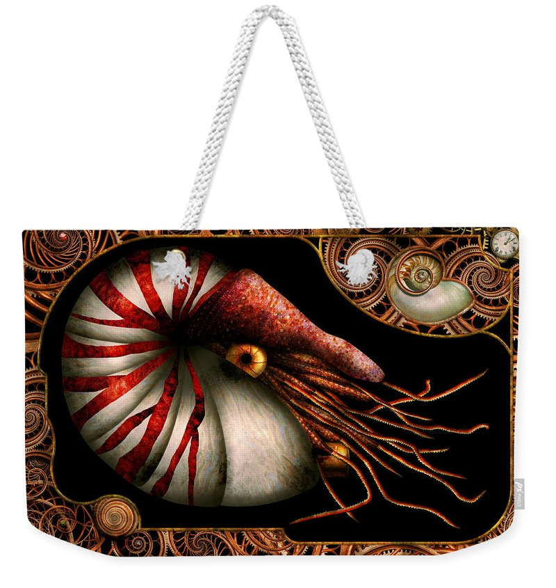 Self Weekender Tote Bag featuring the photograph Steampunk - Nautilus - Coming Out Of Your Shell by Mike Savad