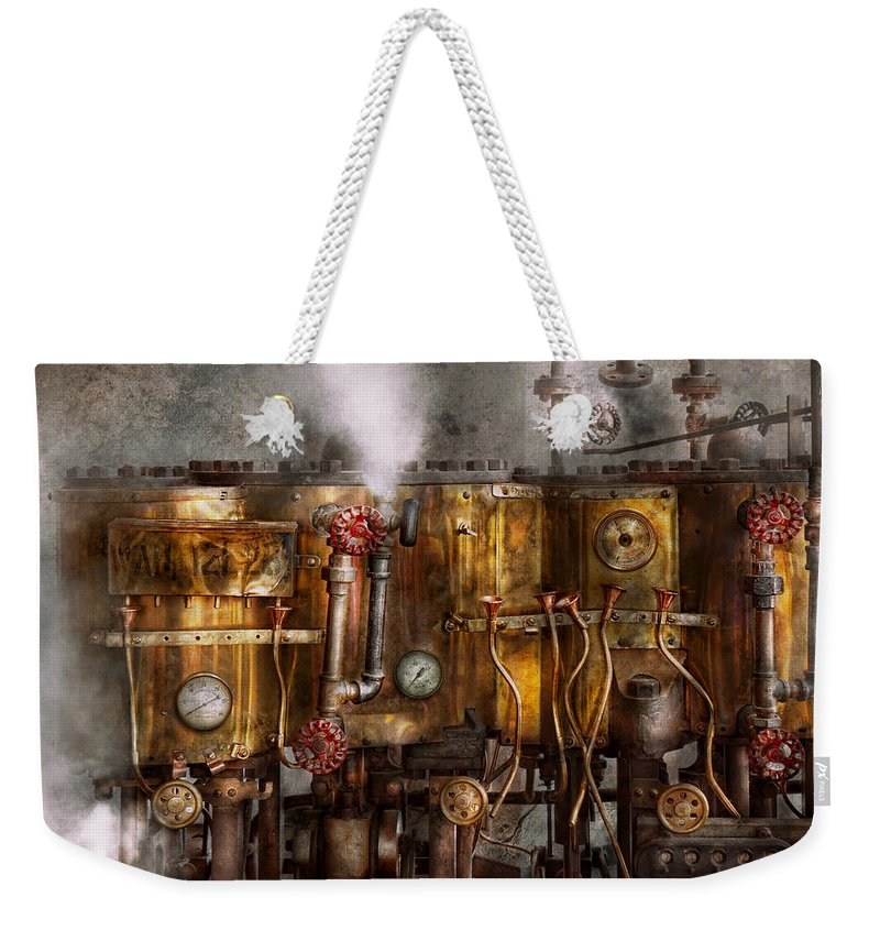 Steampunk Weekender Tote Bag featuring the photograph Steampunk - Plumbing - Distilation Apparatus by Mike Savad