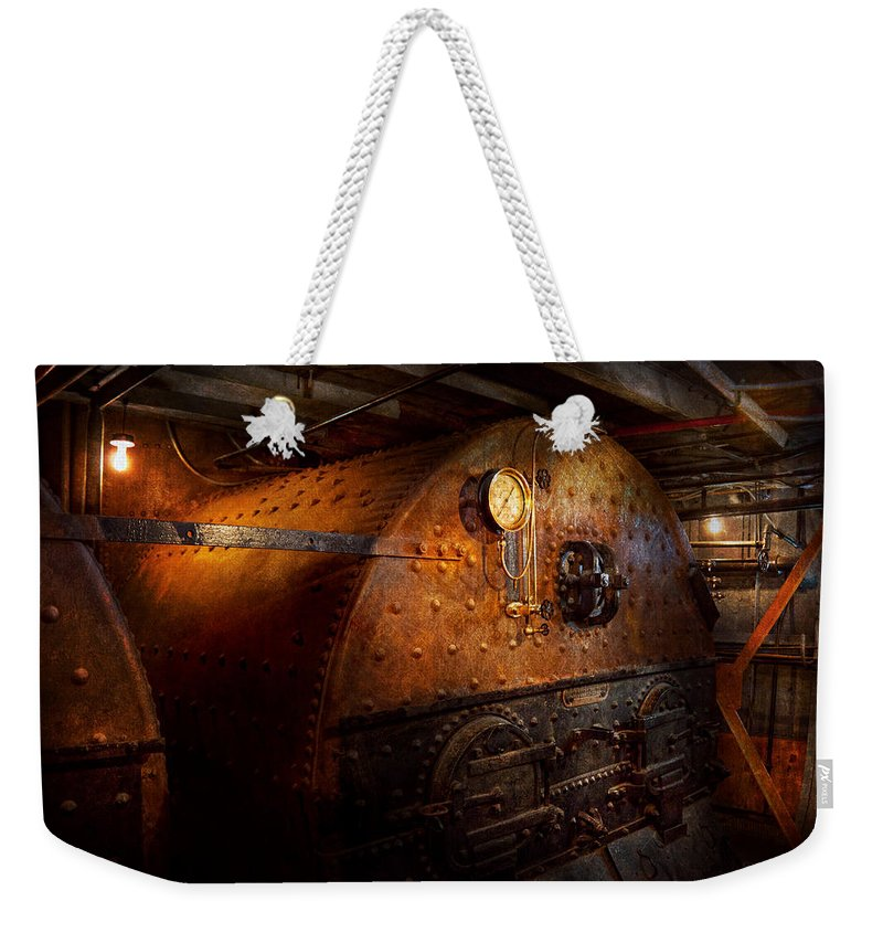 Steampunk Weekender Tote Bag featuring the photograph Steampunk - Plumbing - The Home Of A Stoker by Mike Savad