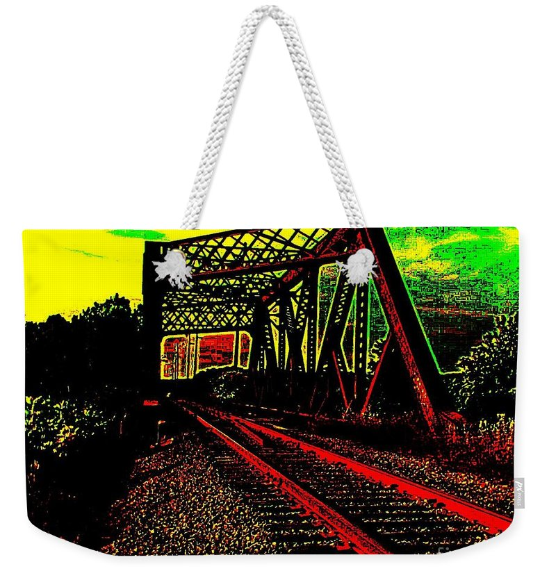 Mohawk River Weekender Tote Bag featuring the digital art Steampunk Railroad Truss Bridge by Peter Ogden