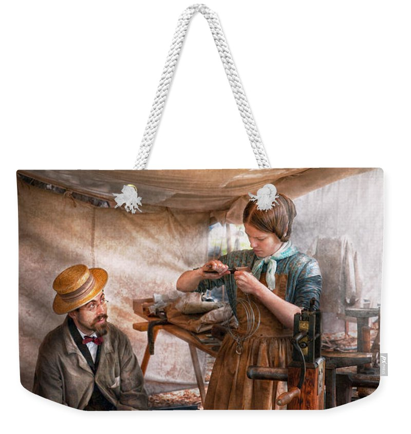 Steampunk Weekender Tote Bag featuring the photograph Steampunk - The Apprentice by Mike Savad