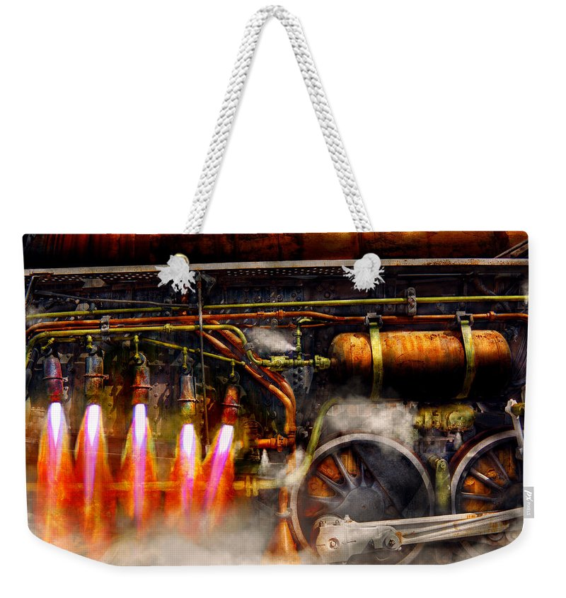 Steampunk Weekender Tote Bag featuring the photograph Steampunk - Train - The Super Express by Mike Savad