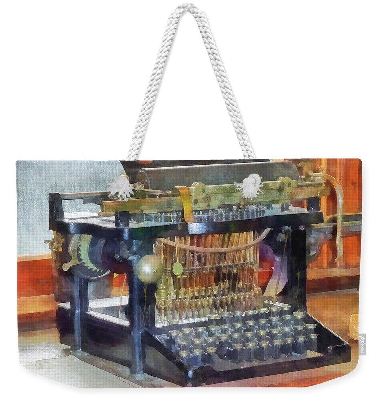 Typewriter Weekender Tote Bag featuring the photograph Steampunk - Vintage Typewriter by Susan Savad